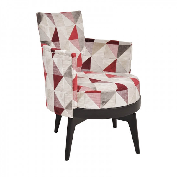 Fauteuil pivotant made in France avec motifs rouges made in France - Mathis - 1