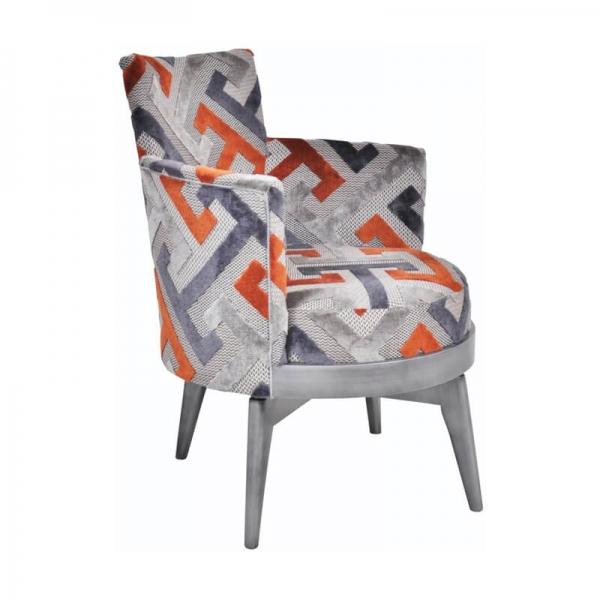 Fauteuil pivotant art déco motifs géométriques oranges made in France – Mathis - 4