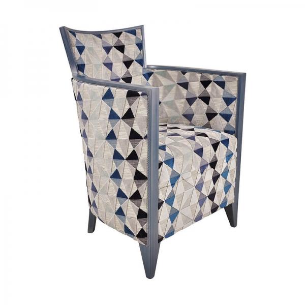 Fauteuil de salon stye art déco à motifs bleus de fabrication française - Nathan - 20