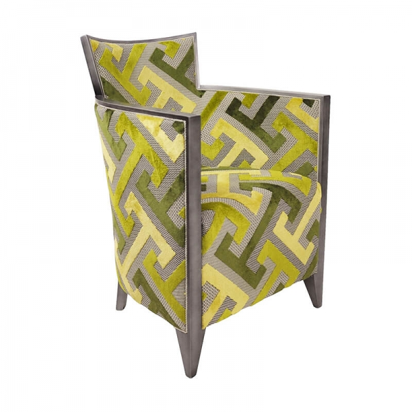 Fauteuil en bois et tissu à motifs géométriques verts - Nathan  - 22