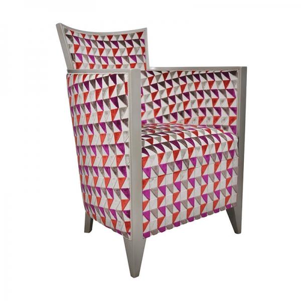 Fauteuil de salon à motifs roses fabrication française - Nathan - 23