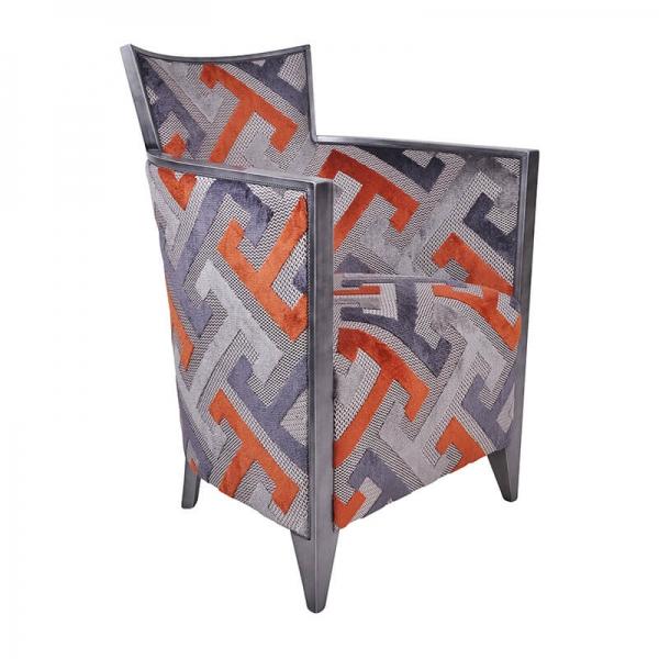 Fauteuil français à motifs géométriques oranges - Nathan - 24