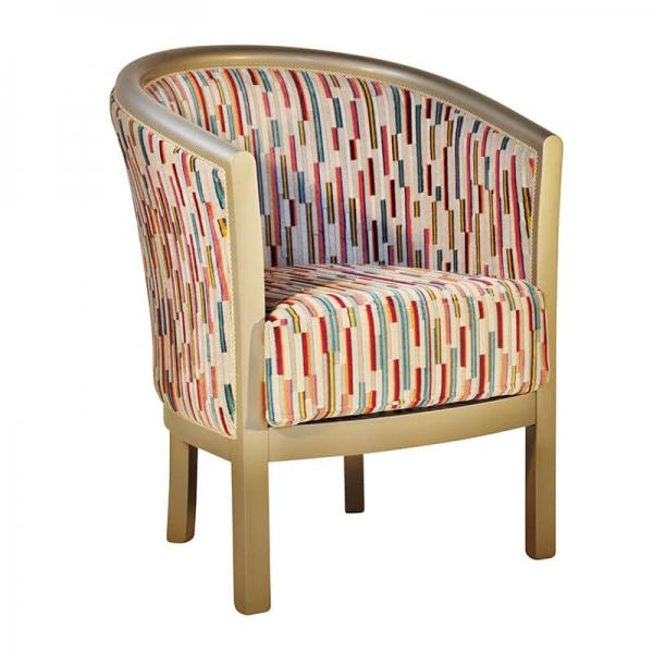 Fauteuil tonneau en tissu à motifs fabrication française - Julien - 19