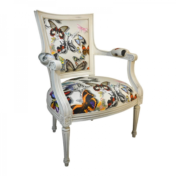 Fauteuil Louis XVI à motifs papillon made in France - Quentin - 23