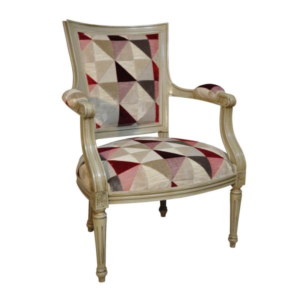Fauteuil style classique en tissu rouge fabriqué en France - Quentin - 29