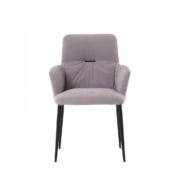 Chaise avec accoudoirs moderne tissu gris et pieds en métal noir - Aura Mobitec® - 2