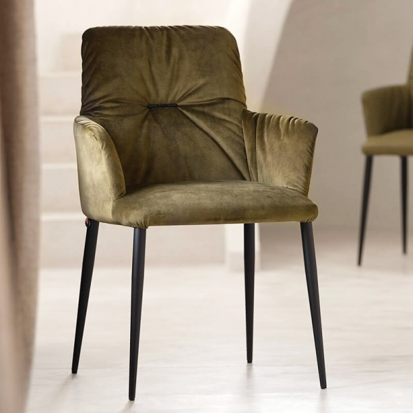 Chaise avec accoudoirs moderne tissu vert et pieds en métal noir - Aura Mobitec® - 5