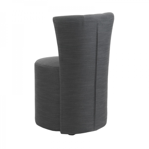 Pouf confortable en tissu gris rembourré et dossier - Cheese - 4