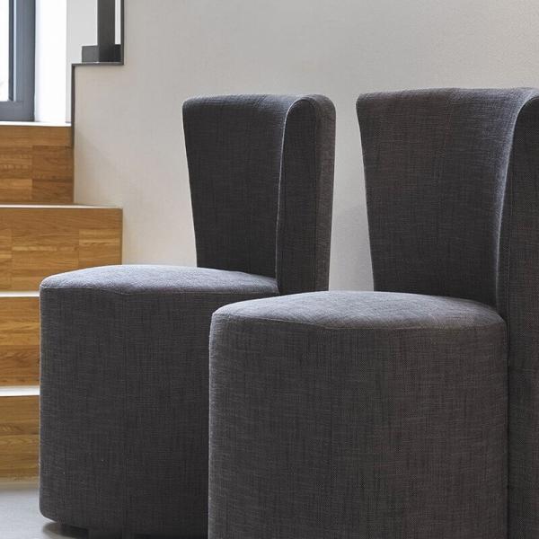 Pouf assise haut en tissu gris foncé avec dossier - Cheese - 5