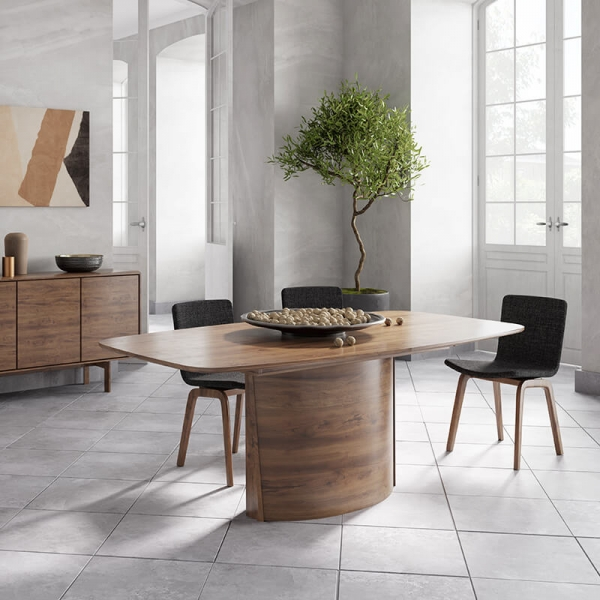 Table extensible pied central style scandinave - SM116-117 - 1