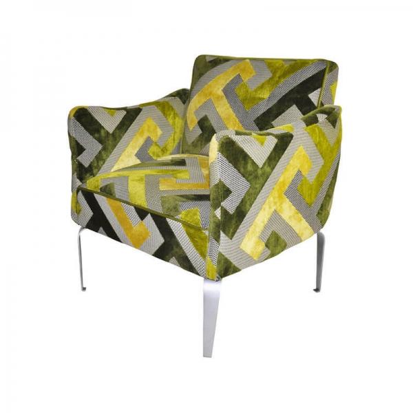 Fauteuil français confortable en tissu à motifs géométriques verts - Arnold - 5