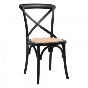 Chaise bistrot noire bois massif et assise rotin - Cabaret