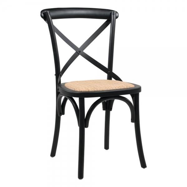 Chaise bistrot noire bois massif et assise rotin - Cabaret - 1
