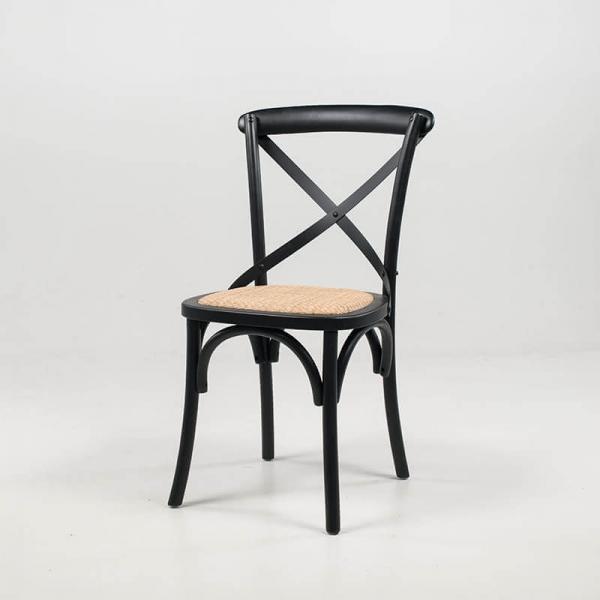 Chaise style bistrot vintage noire en bois massif et rotin - Cabaret - 2