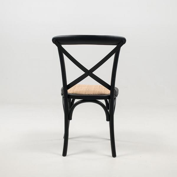 Chaise type bistrot en bois noir et rotin naturel - Cabaret - 6