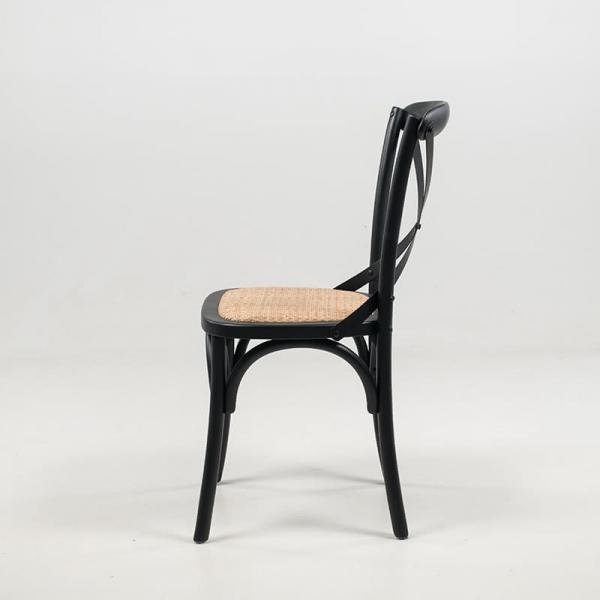 Chaise bistrot vintage noire bois massif et assise rotin - Cabaret - 5