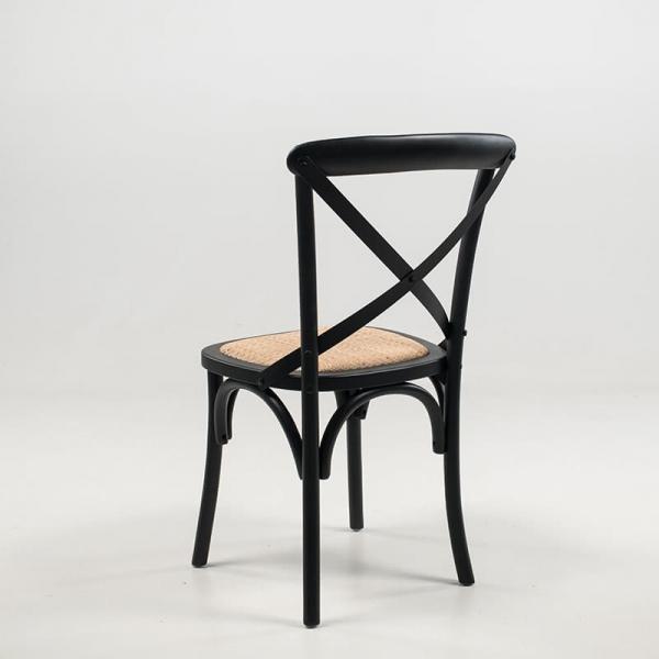 Chaise bistrot rétro noire bois massif et assise rotin - Cabaret - 8