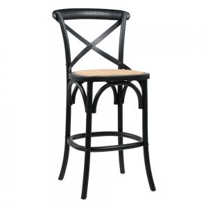 Tabouret bistrot vintage en bois noir hauteur snack - Cabaret