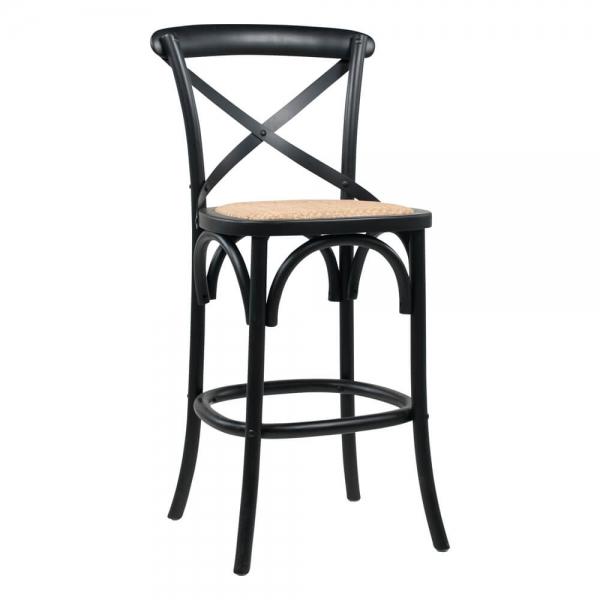 Tabouret bistrot vintage en bois noir hauteur snack - Cabaret - 1
