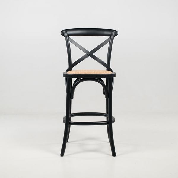 Tabouret snack vintage en bois massif noir et assise en rotin - Cabaret - 3