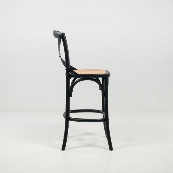 Tabouret mi hauteur style bistrot en bois noir et rotin naturel - Cabaret  - 4