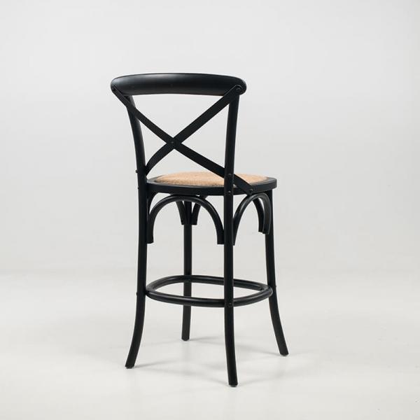 Tabouret bistrot style vintage en bois noir hauteur snack - Cabaret - 7
