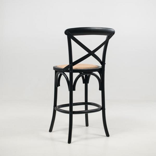 Tabouret bistrot style rétro en bois noir hauteur snack - Cabaret - 8