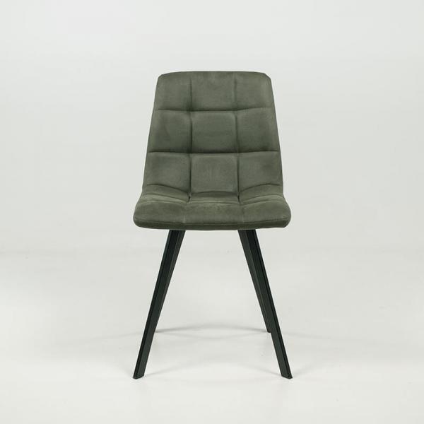 Chaise moderne matelassée verte avec pieds en métal noir - Carvi - 12
