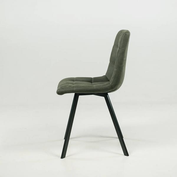 Chaise de salle à manger confortable en tissu vert - Carvi - 14