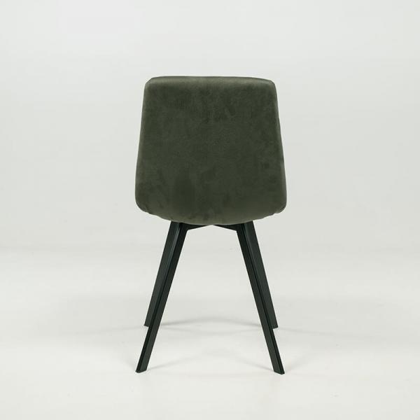 Chaise de salle à manger confortable matelassée en tissu vert - Carvi - 15
