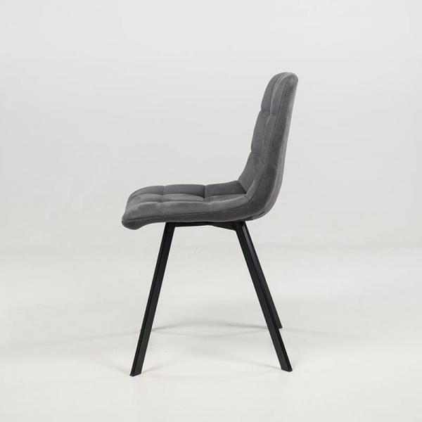Chaise tendance matelassée en tissu gris clair  - Carvi - 6