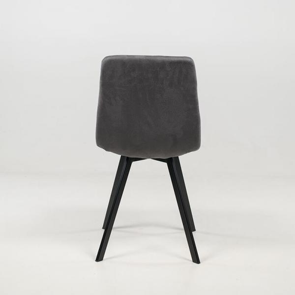 Chaise rembourrée et matelassée en tissu gris clair - Carvi - 8