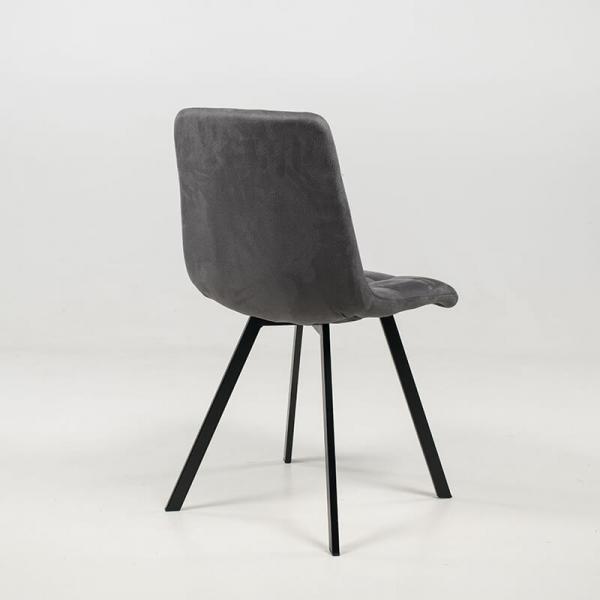 Chaise moderne rembourrée et matelassée en tissu gris clair - Carvi - 9