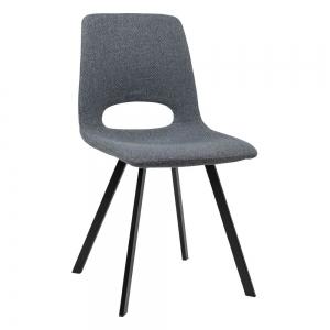 Chaise de salle à manger tendance en tissu gris foncé avec dossier ajouré - Pepper
