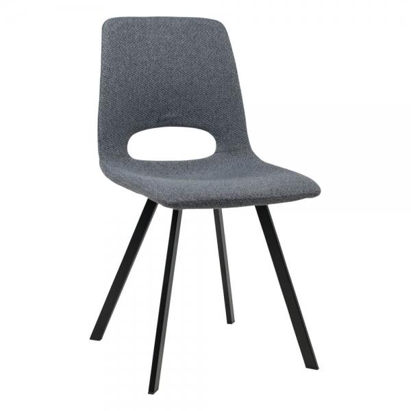 Chaise de salle à manger tendance en tissu gris foncé avec dossier ajouré - Pepper - 2