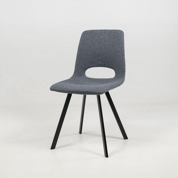 Chaise grise rembourrée ajourée gris foncé avec pieds en métal noir - Pepper - 3