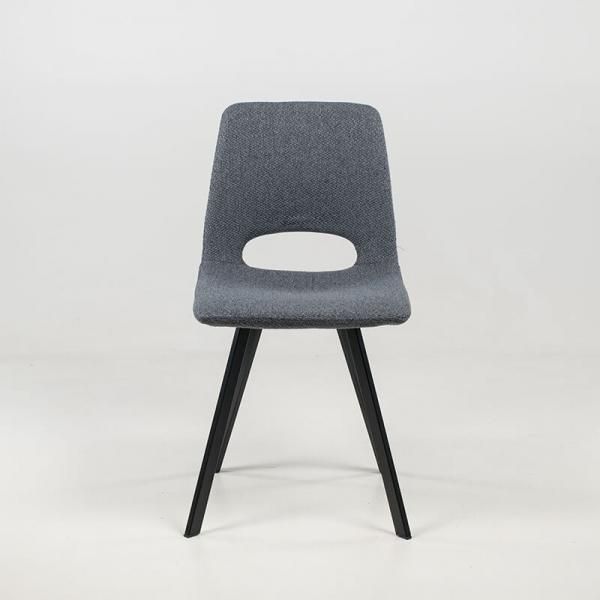 Chaise de séjour grise avec pieds en métal noir et revêtement en tissu - Pepper - 4