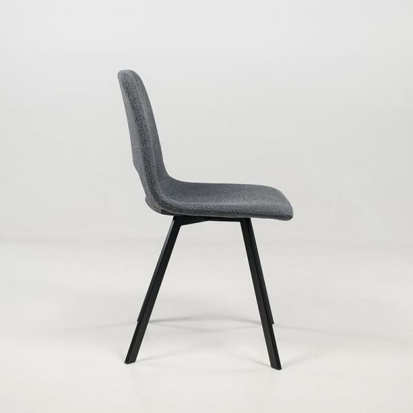 Chaise moderne ajourée gris foncé avec pieds en métal noir - Pepper - 5