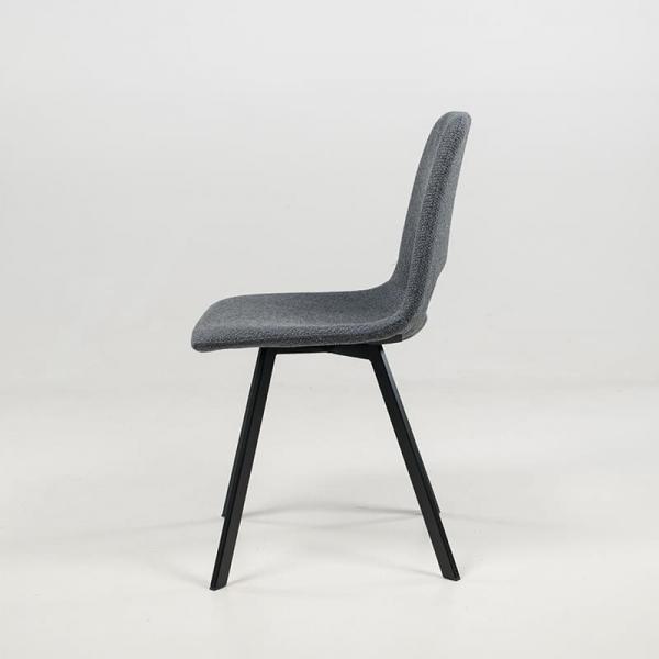 Chaise de salle à manger en tissu gris foncé avec pieds en métal noir - Pepper - 6