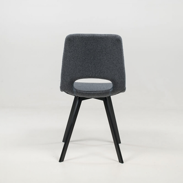 Chaise rembourrée et revêtue en tissu gris foncé - Pepper - 7