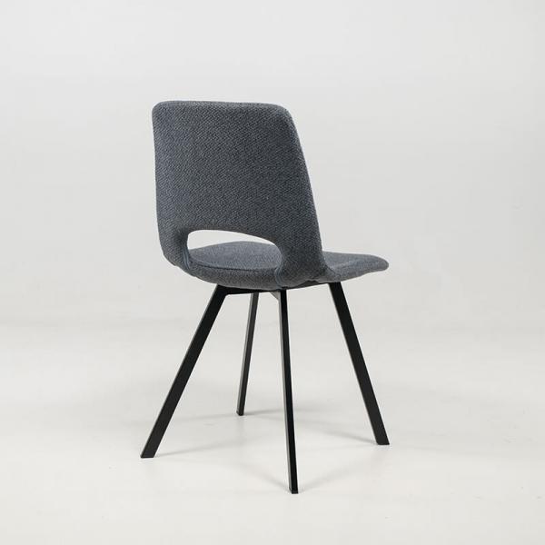 Chaise rembourrée et revêtue en tissu gris foncé - Pepper - 8