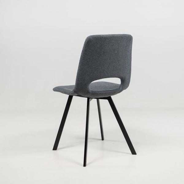Chaise rembourrée et revêtue en tissu gris foncé - Pepper - 9