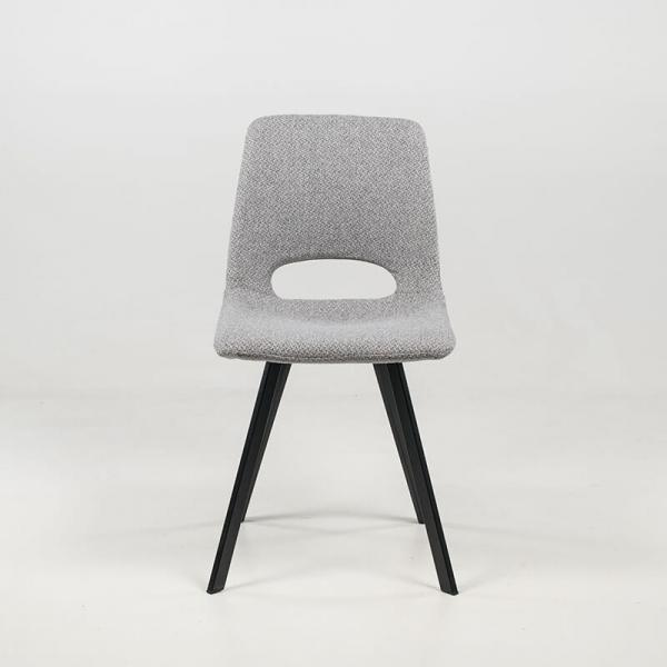 Chaise moderne dossier ajouré gris avec pieds en métal noir - Pepper - 12