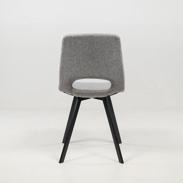 Chaise dossier ajouré gris clair avec pieds en métal noir - Pepper - 15