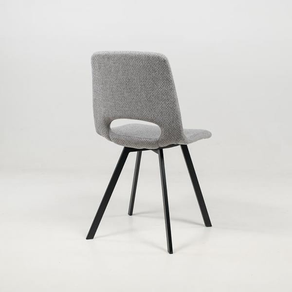 Chaise rembourrée en tissu gris clair avec pieds en métal noir - Pepper - 16