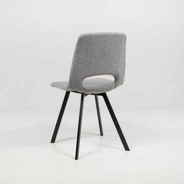 Chaise dossier ajouré gris clair avec pieds en métal noir - Pepper - 17