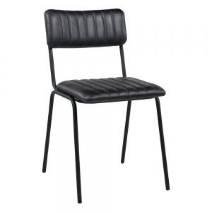 Chaise en cuir vintage noire empilable et rembourrée avec surpiqûres - Safran