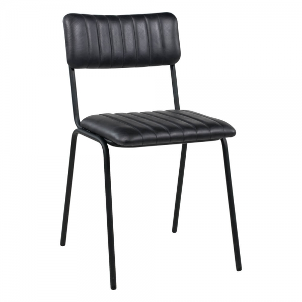 Chaise en cuir vintage noire empilable et rembourrée avec surpiqûres - Safran - 10