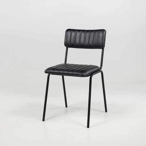 Chaise en cuir vintage empilable et rembourrée avec surpiqûres - Safran - 11