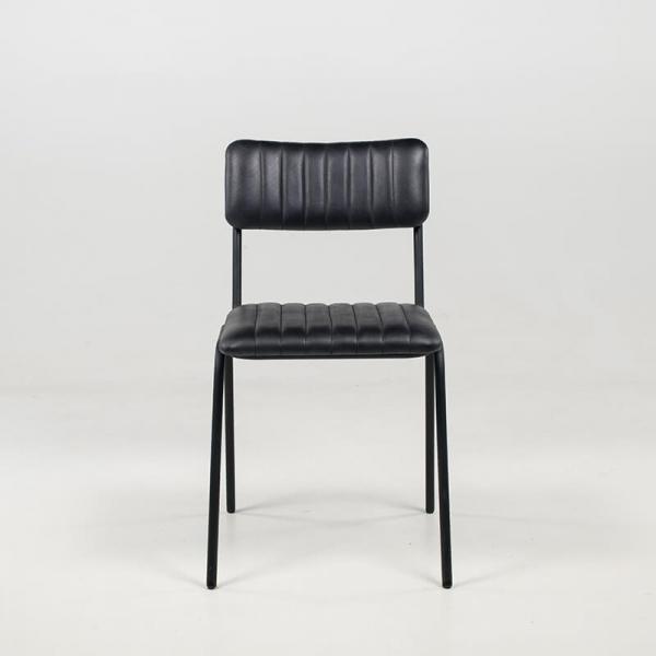 Chaise moderne en cuir vintage empilable et rembourrée avec surpiqûres - Safran - 12